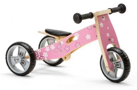 NIC812 Mini 2 in 1 Pink Flower Wooden Balance Bike Trike